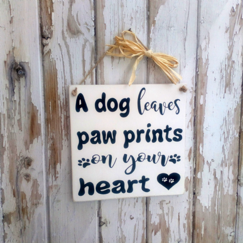 A Dog Leaves Paw Prints - Square Wooden Plaque